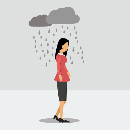 Illustration for Vector illustration. Walking woman in depression in the rain - Royalty Free Image