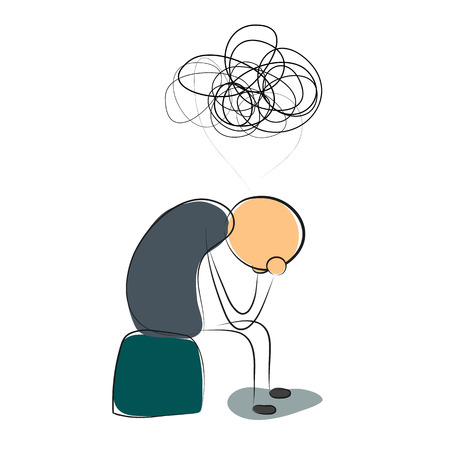 Illustration pour Vector illustration. Drawing. Sitting depressed man with many thoughts - image libre de droit
