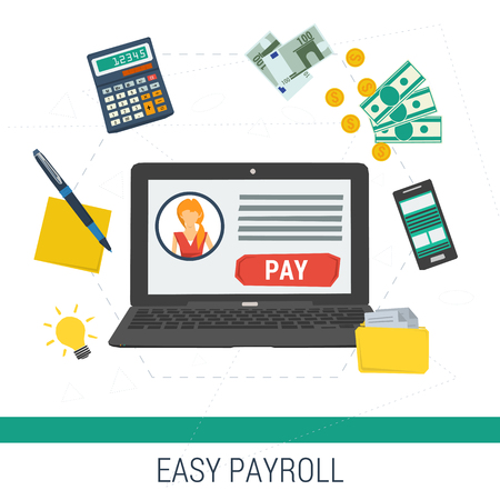 Illustration pour Vector concept easy online payroll operation. Laptop with account and button pay calculator money files on white background. Flat style. Web infographics - image libre de droit