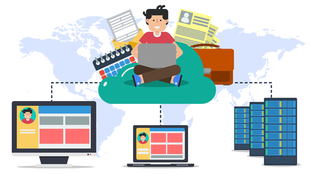 Illustration pour Various data and user sitting on online cloud connected with server, computer and laptop in flat style - image libre de droit