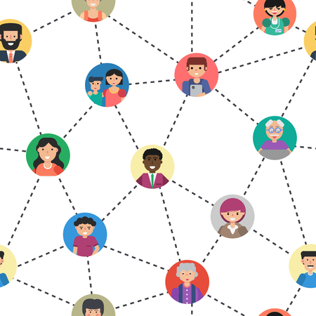 Illustration pour Seamless pattern of internet communication or social networking. Various men and woman on colored backgrounds connected by lines in flat style - image libre de droit