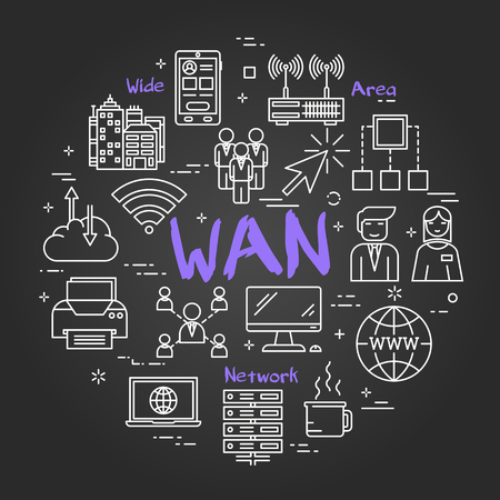 Illustration pour Linear round concept of Wide Area Network . Thin line icons of WAN, Internet technologies, computer networks, secure connection. Modern web banner on on black chalk board - image libre de droit