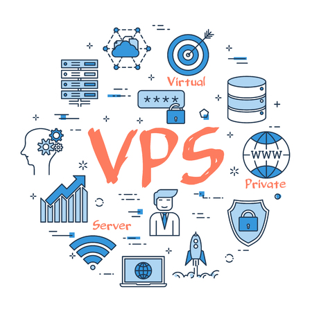 Illustration pour A Vector linear blue round concept of VPS concept. Thin line icons of internet server, database and cloud safe information storage. Modern web banner on white background - image libre de droit