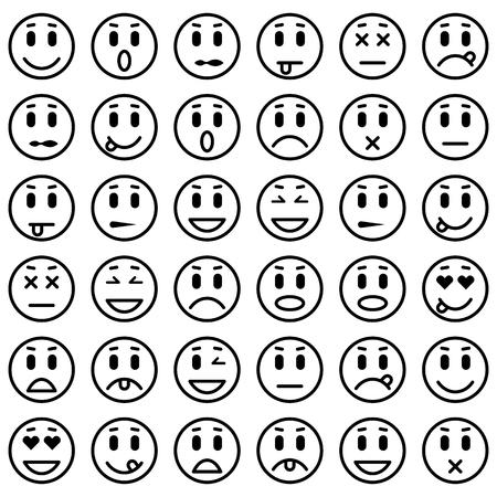Ilustración de Set of Emoticons. Set of Emoji. Isolated vector illustration - Imagen libre de derechos