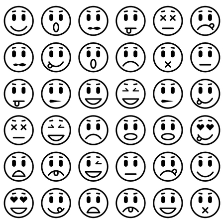 Illustrazione per Set of Emoticons. Set of Emoji. Isolated vector illustration - Immagini Royalty Free