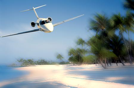 Foto de Travel concept with aircraft. Clouds and sea - Imagen libre de derechos