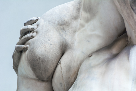 Photo for FLORENCE, ITALY - MAY 13,2019: Sculpture The Rape of the Sabine Women, made by sculptor Giambologna (1574–82). Loggia dei Lanzi - Royalty Free Image