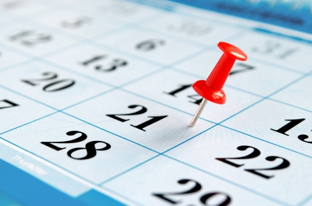 Photo for calendar and marked the date the pushpin - Royalty Free Image