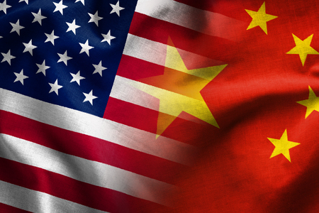 Photo pour Composite of the flags of The Peoples Republic of China and the Stars and Stripes of the United States of America - image libre de droit