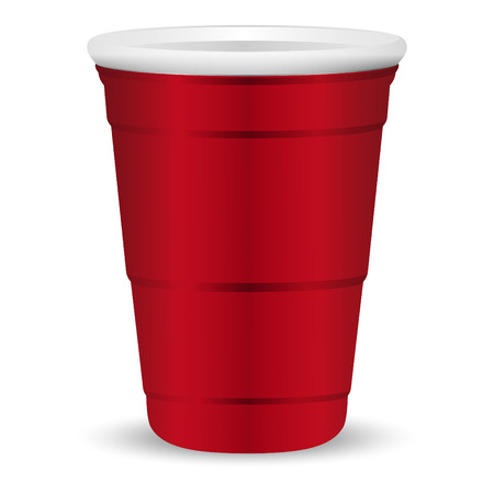 Ilustración de Red party cup realistic 3d vector illustration. Disposable plastic or paper container mockup for drinks and fun games isolated on white background. - Imagen libre de derechos