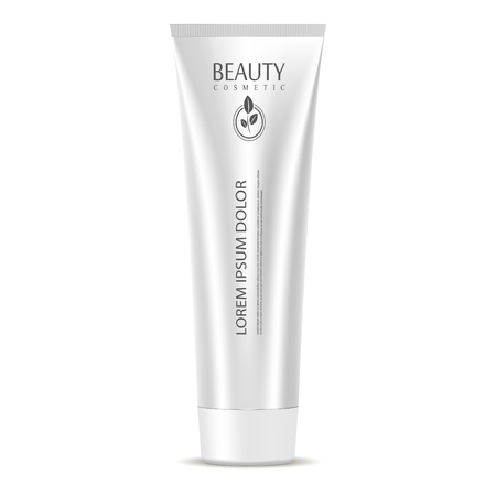 Illustration for Cosmetic tube mockup template in silver metallic color. Jar for cream, ointment, mask, clay, moisturizer. High quality vector packaging 3d illustration. - Royalty Free Image