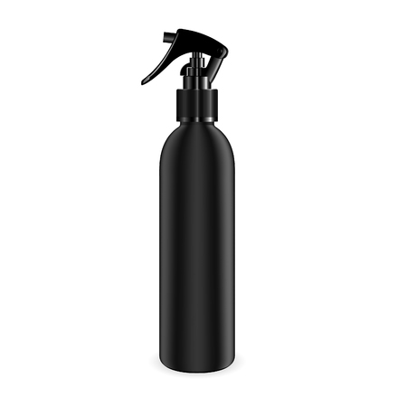 Illustration for Spray bottle for cosmetic and other products. Isolated black blank container mockup with black dispenser head. Realistic vector template. - Royalty Free Image