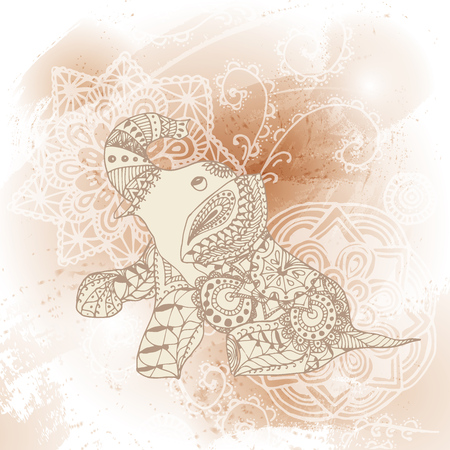 Greeting Beautiful card with Elephant. Frame of animal made in vector Elephant Illustration for design pattern textiles