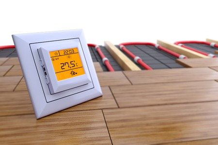 Photo for the temperature control for underfloor heating - Royalty Free Image