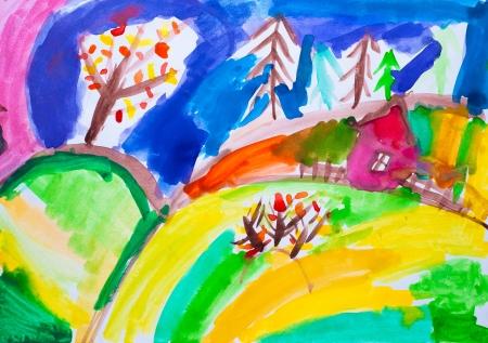 Photo pour Children s drawing  house watercolor - image libre de droit
