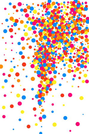 Illustration pour Colorful explosion of confetti. Grainy abstract multicolored texture isolated on white background. Flat design element. Vector illustration. - image libre de droit
