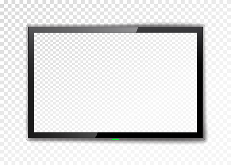 Illustrazione per Realistic TV screen. Empty led monitor isolated on a transparent background. Vector illustration. - Immagini Royalty Free