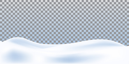Illustration pour Realistic snowdrift isolated on transparent background. Snowy landscape. Vector illustration with snow hills. - image libre de droit