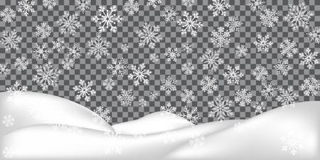 Illustration pour Realistic snowdrift isolated on transparent background. Winter landscape. Falling snowflakes. Vector illustration with snow hills. - image libre de droit