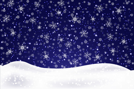 Illustration pour Christmas landscape with falling snowflakes. Snow background. Realistic snowdrift isolated. Vector illustration. - image libre de droit