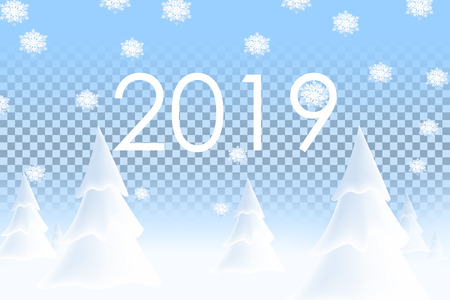 Illustration pour Happy New Year 2019. Realistic snowdrift on transparent background. Winter snowy landscape with christmas trees. Vector illustration with snow hills. - image libre de droit