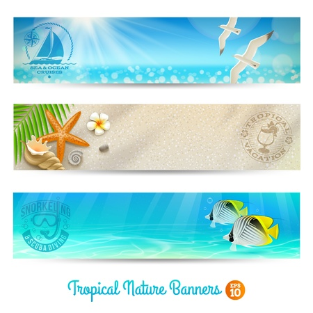 Travel and vacation banners with tropical natures