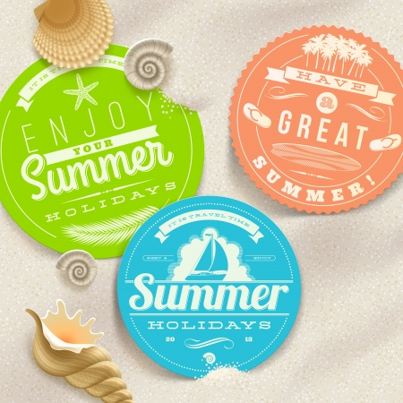 Summer vacation and travel labels and sea shells on a beach sand -illustration