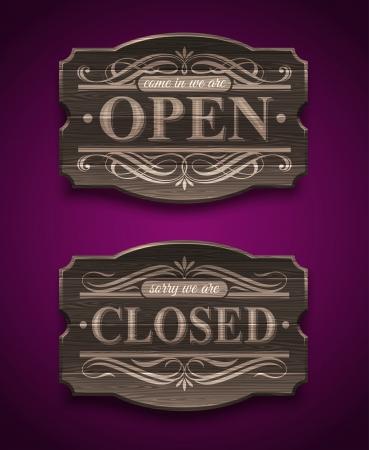 Illustration pour Open and Closed wooden ornate vintage signs - vector illustration - image libre de droit