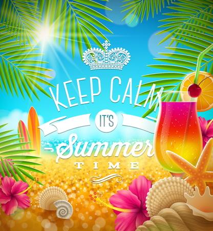Ilustración de Summer holidays greeting - tropical design, vector illustration - Imagen libre de derechos