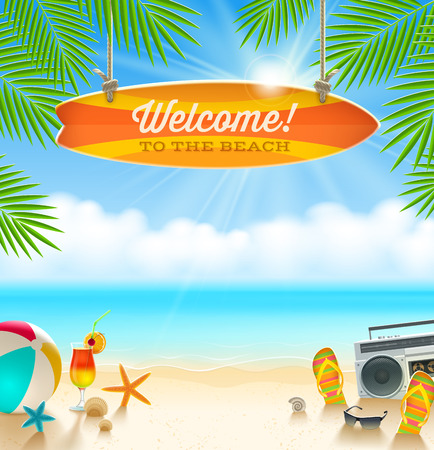 Illustration pour Beach things and old surfboard with greeting - summer holidays vector illustration - image libre de droit