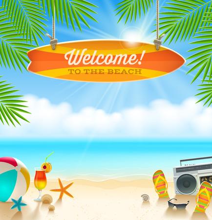 Ilustración de Beach things and old surfboard with greeting - summer holidays vector illustration - Imagen libre de derechos