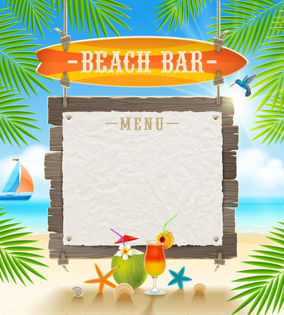 Illustration pour Tropical beach bar  - signboard surfboard and paper banner for menu - summer holidays vector design - image libre de droit