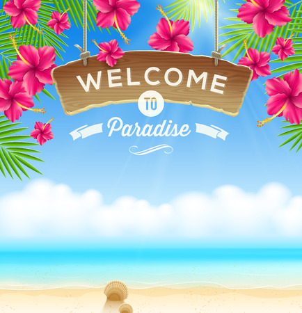 Illustration pour The wooden signboard Welcome -  against a tropical flowers background and beach seascape - image libre de droit