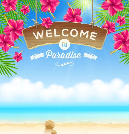 Ilustración de The wooden signboard Welcome -  against a tropical flowers background and beach seascape - Imagen libre de derechos