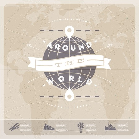 Illustration pour Around the world - travel  vintage type design with world map and  old  transport - image libre de droit