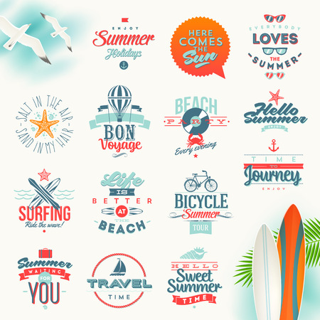 Illustration pour Vector set of travel and summer vacation type design - image libre de droit
