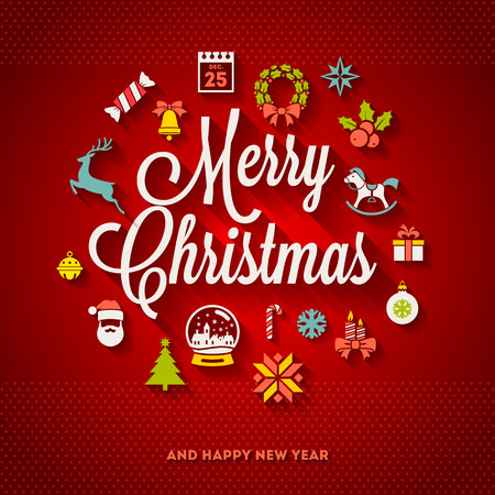 Illustrazione per Christmas greeting vector design - holidays lettering and flat icons with long shadows - Immagini Royalty Free