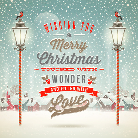 Photo pour Christmas greeting type design with vintage street lantern against a winter village - holidays vector illustration - image libre de droit