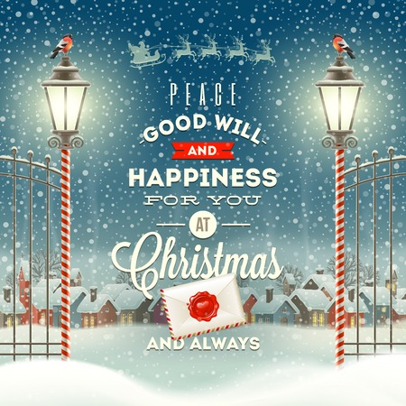 Illustration pour Christmas greeting type design with vintage street lantern against a evening rural winter landscape - holidays vector illustration - image libre de droit