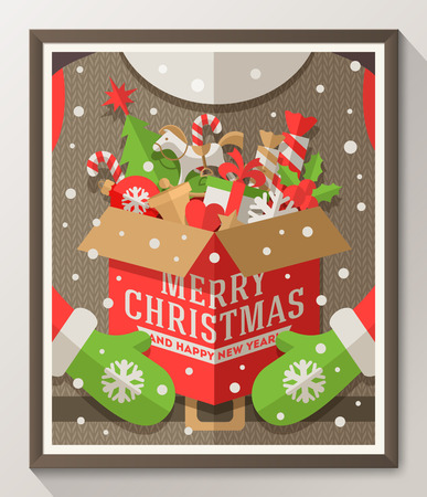 Illustration pour Santa Claus hands holding a box with Christmas toys, gifts and sweets - Holidays flat style poster in wooden frame. Vector illustration - image libre de droit