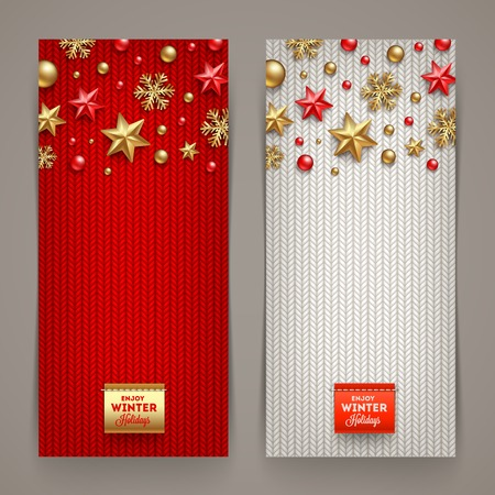 Foto per Holidays banners with knitting background and Christmas decoration - vector illustration - Immagine Royalty Free