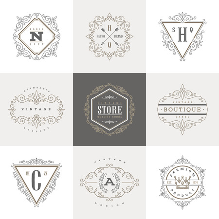 Photo for Monogram template with flourishes calligraphic elegant ornament elements. Identity design with letter for cafe, shop, store, restaurant, boutique, hotel, heraldic, fashion and etc. - Royalty Free Image