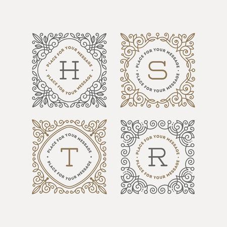Ilustración de Set of monogram logo template with flourishes calligraphic elegant ornament frames. Identity design with letter for cafe, shop, store, restaurant, boutique, hotel, heraldic, fashion and etc. - Imagen libre de derechos