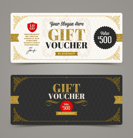 Illustration pour Gift voucher template with glitter gold, Vector illustration, Design for  invitation, certificate, gift coupon, ticket, voucher, diploma etc. - image libre de droit