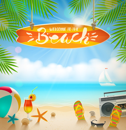 Ilustración de Surfboard signboard with hand drawn calligraphy - Welcome to the beach. Summer holidays and beach vacation vector illustration. Beach items on the shore of tropical sea. - Imagen libre de derechos