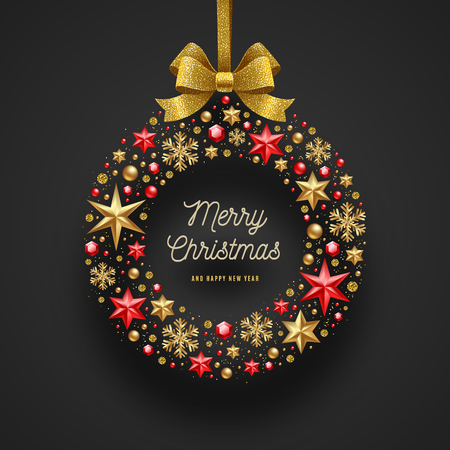 Illustration pour Christmas greeting illustration. Frame in the form of Christmas wreath made from stars, ruby gems golden snowflakes, beads and glitter gold bow ribbon. - image libre de droit