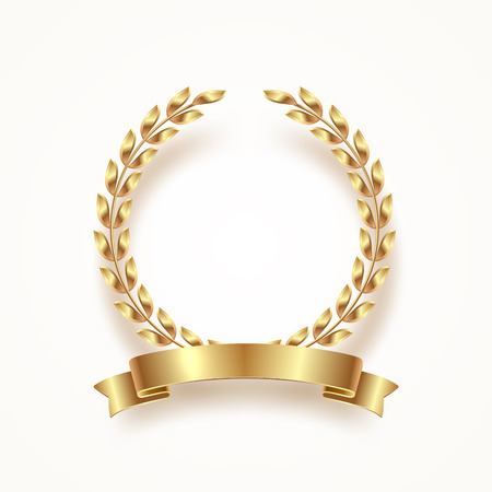 Illustration pour Golden laurel wreath with ribbon. Vector illustration. - image libre de droit