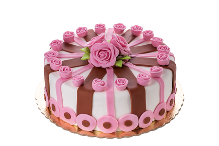 Photo pour Wonderful decorative cake flowers roses. On the birthday of his beloved. - image libre de droit
