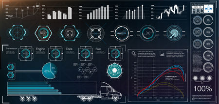 Illustration pour Futuristic user interface. HUD UI. Abstract virtual graphic touch user interface. Cars infographic. Vector science abstract.  Vector illustration. - image libre de droit