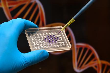 Foto de DNA testing in a scientific laboratory. Genome research using modern biotechnology methods. - Imagen libre de derechos